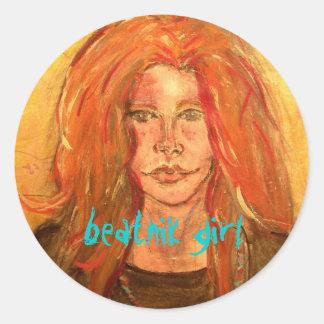 beatnik girl classic round sticker