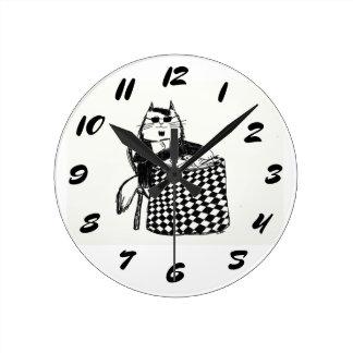 Beatnik Kitty Round Clock