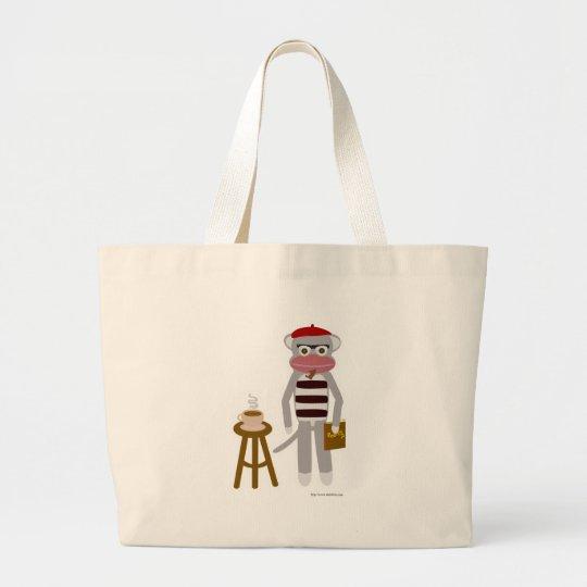 Beatnik Sock Monkey Large Tote Bag