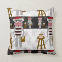 Beatnik Sock Monkey Poetry Party Throw Pillow