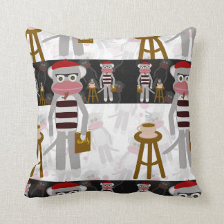Beatnik Sock Monkey Poetry Party Throw Pillow