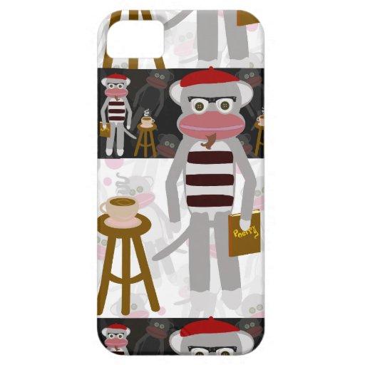 Beatnik Sock Monkey Striped Pattern iPhone 5 Covers