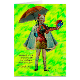 Beatrice and Her Mardi Gras Costume Card