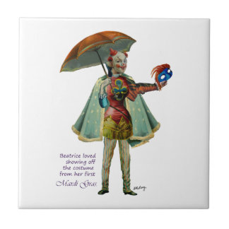 Beatrice and Her Mardi Gras Costume Tile