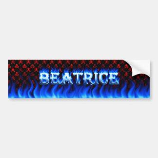 Beatrice blue fire and flames bumper sticker desig