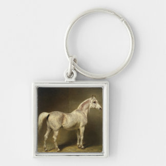 Beatrice' Silver-Colored Square Keychain