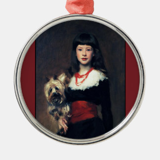 Beatrice Townsend w/Dog 1882 ~Realism Metal Ornament
