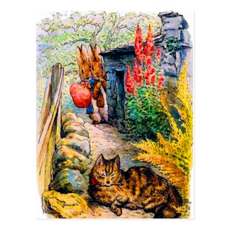 Beatrix Potter - Bunnies Watching the Cat Postcard