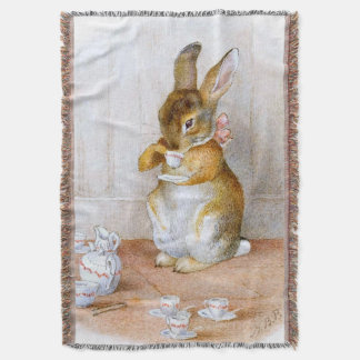 Beatrix Potter: Bunny Girl Drinking Tea Throw