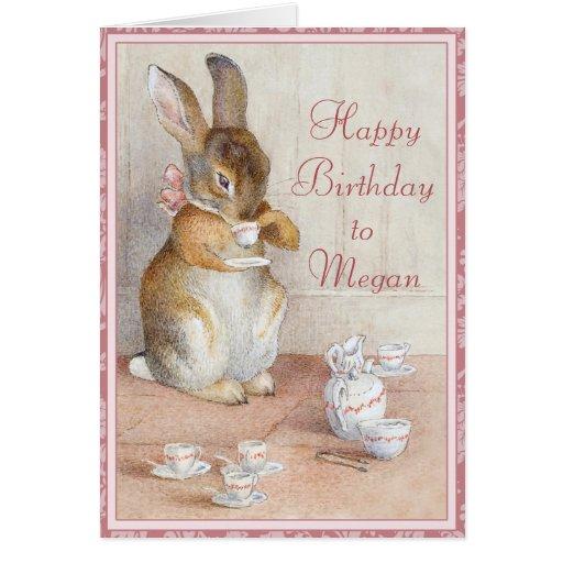 Beatrix Potter Bunny Rabbit Custom Birthday Card