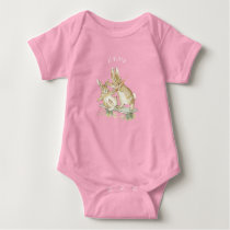 Beatrix Potter, Cute Brown Bunnies Eating Carrots Baby Bodysuit