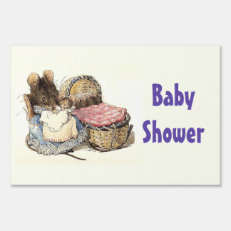 Beatrix Potter Mother and Child Baby Shower Sign