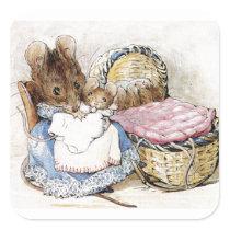 Beatrix Potter, Mother Mouse, Hunca Munca, Custom Square Sticker