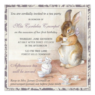 "Beatrix Potter Rabbit Birthday Tea Party Plum 5.25"" Square Invitation Card"