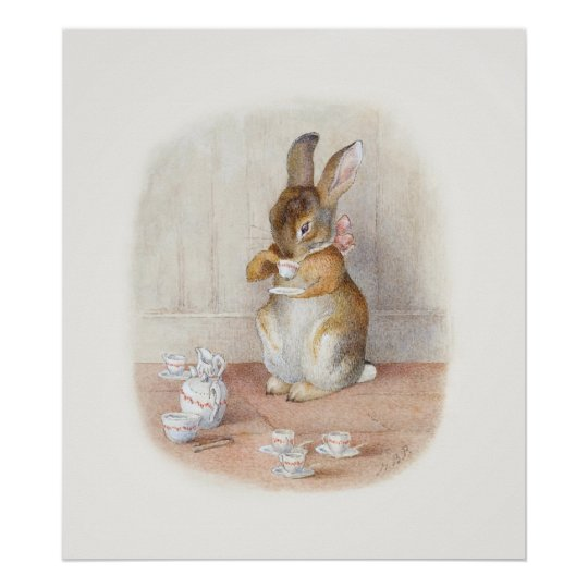 Beatrix Potter Rabbit Drinking Tea Poster Print