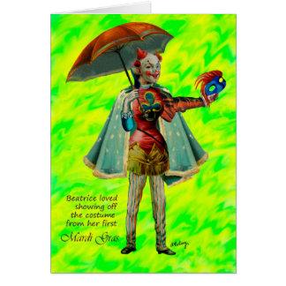 Beatriz y su tarjeta del traje del carnaval