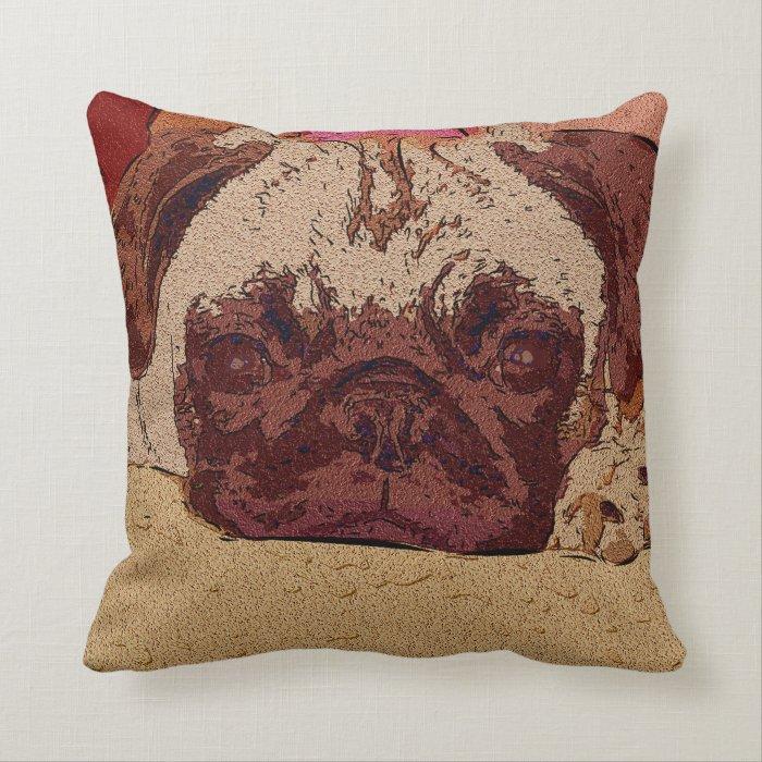 Beatuiful Brown Pug Pillows