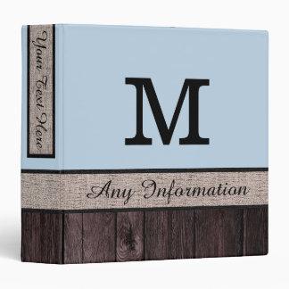 Beau blue Color Rustic Look Wood Monogram Binder