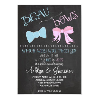 """Beau bow or  Bows Gender Reveal Party Invitation 5"""" X 7"""" Invitation Card"""