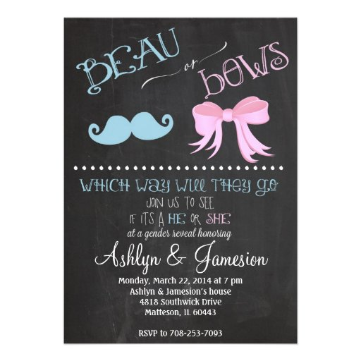 Beau Mustach  Bows Gender Reveal Party Invitation