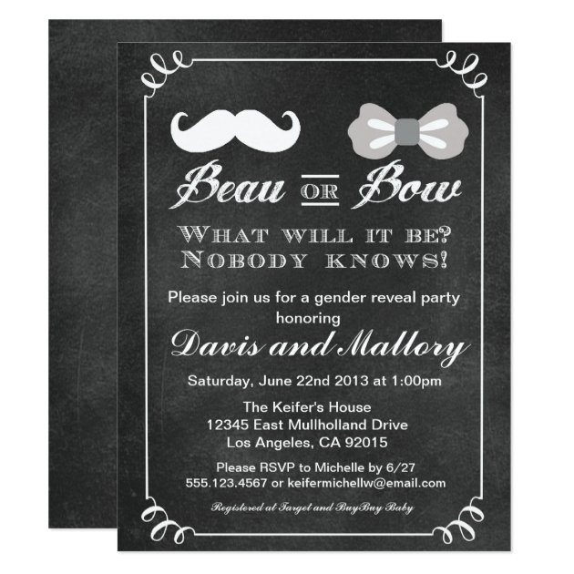 chalkboard gender reveal invitations & announcements | zazzle, Baby shower invitations
