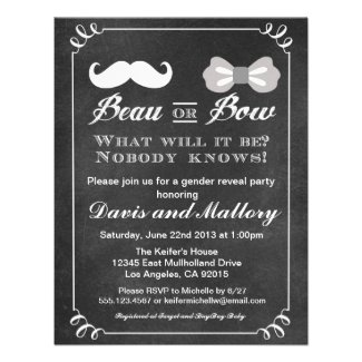 Beau Or Bow Gender Reveal Baby Shower invitation