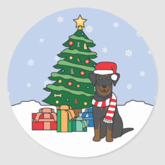 Beauceron and Christmas Tree Stickers