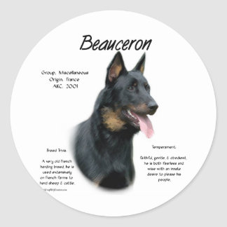 Beauceron History Design Round Sticker