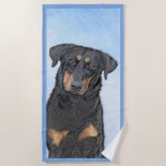 Beauceron Painting - Cute Original Dog Art Beach Towel