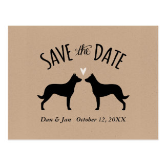 Beauceron Silhouettes Wedding Save the Date Postcard