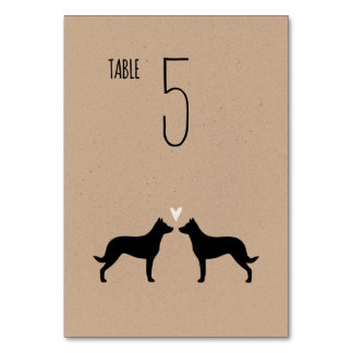 Beauceron Silhouettes Wedding Table Card