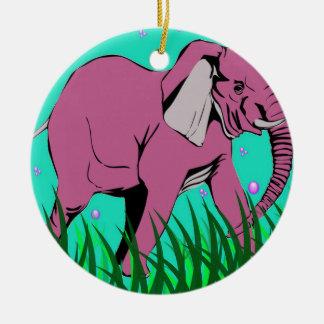 Beauiful Pink Elephant Christmas Ornament