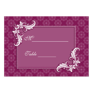 Beaujolais Damask and Floral Frame Place Setting Business Card Templates