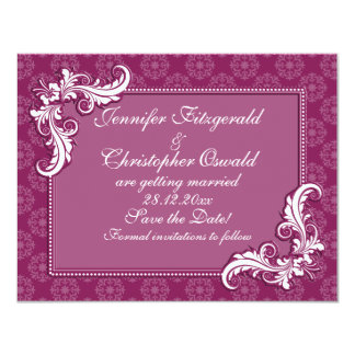 """Beaujolais Damask and Floral Frame Save the Date 4.25"""" X 5.5"""" Invitation Card"""