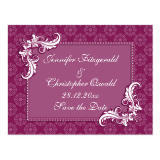 Beaujolais Damask and Floral Frame Save the Date Postcard