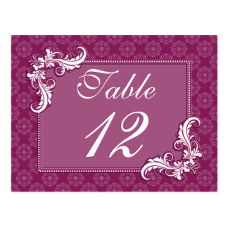 Beaujolais Damask and Floral Frame Table Number Postcard