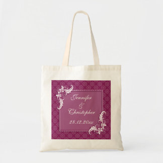 Beaujolais Damask and Floral Frame Wedding Canvas Bags