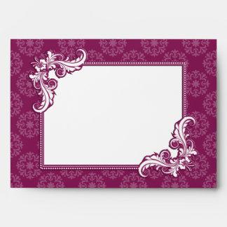 Beaujolais Damask and Floral Frame Wedding Envelope