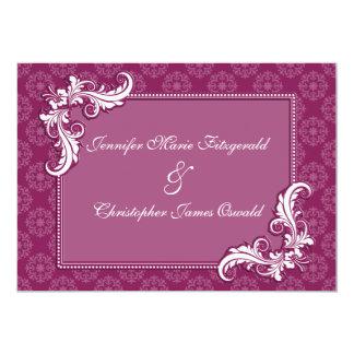 "Beaujolais Damask and Floral Frame Wedding 5"" X 7"" Invitation Card"