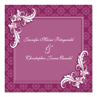 """Beaujolais Damask and Floral Frame Wedding 5.25"""" Square Invitation Card"""