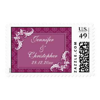 Beaujolais Damask and Floral Frame Wedding Stamp
