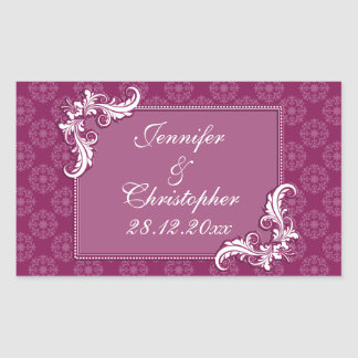 Beaujolais Damask and Floral Frame Wedding Stickers