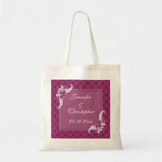 Beaujolais Damask and Floral Frame Wedding Tote Bag
