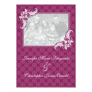 "Beaujolais Damask and Floral Photo Wedding 5"" X 7"" Invitation Card"