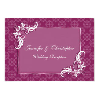"Beaujolais Damask Floral Frame Wedding Reception 3.5"" X 5"" Invitation Card"