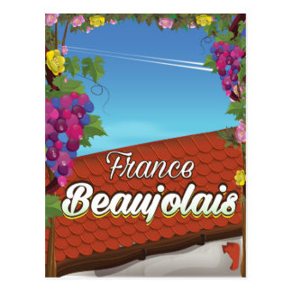 Beaujolais France wine travel poster Postcard