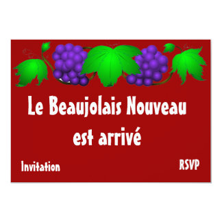 "Beaujolais nouveau invitation red 5"" x 7"" invitation card"