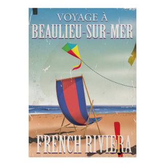 Beaulieu-sur-Mer French Vintage Travel poster