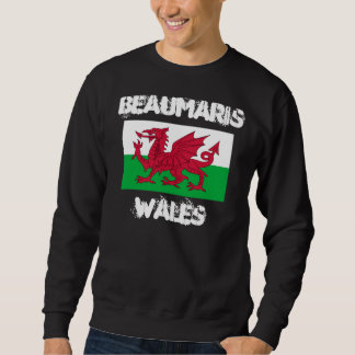 Beaumaris, Wales with Welsh flag Pullover Sweatshirt