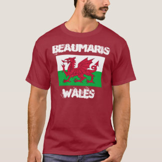 Beaumaris, Wales with Welsh flag T-Shirt
